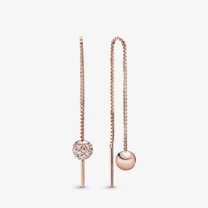 Pandora Polished & Pavé Bead Dangle Earrings